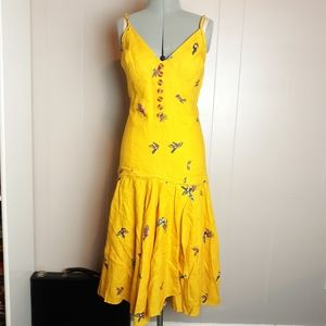 NEW FARM rio tucanos linen ruffle midi dress